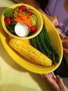 Corn Green Beans and Salad
